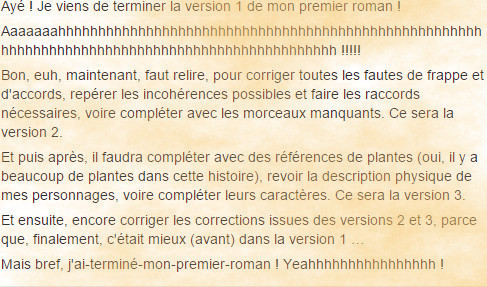 Copie écran - post Facebook - premier roman terminé