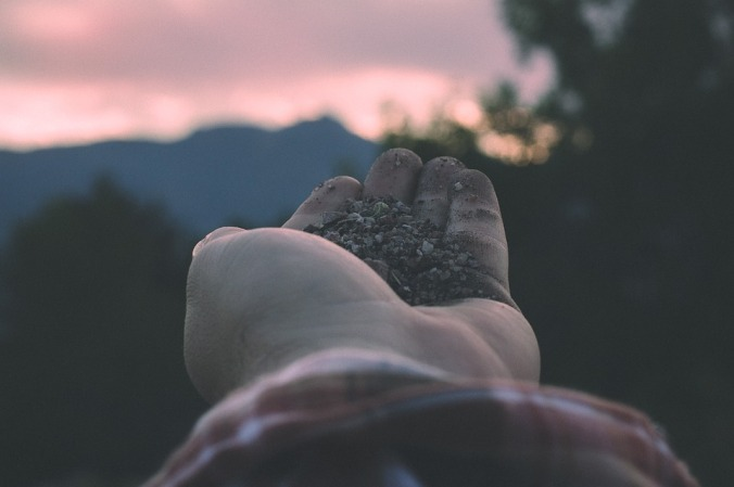 Photo paume de main avec terre