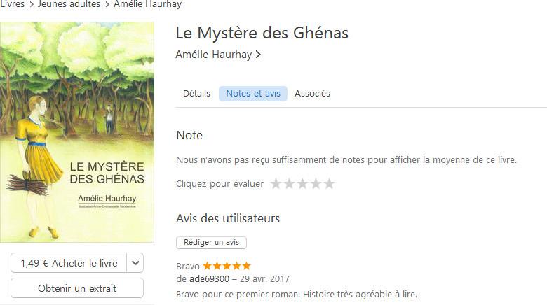Commentaire de lecteur pour le Mystère des Ghénas sur l'iTunes Store