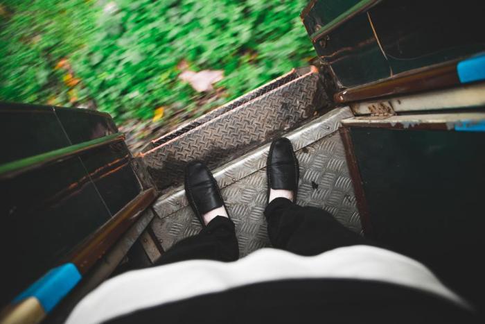 Photo d'un passager dans un train
